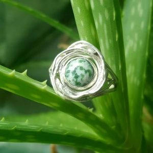Jewelry - Nestled - Green Spot Agate & Sterling Silver Ring